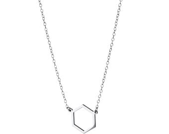 Geometric Hexagon Necklace / Sterling Silver / 14k Gold over Silver / Dainty & Delicate Necklace