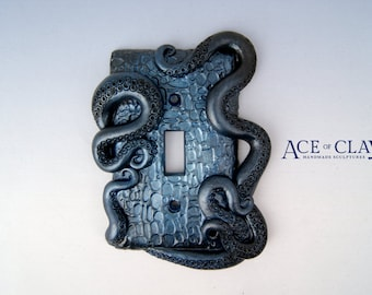 Midnight Blue Octopus Tentacle Light Switch Cover plate sea creature beach ocean art metal creepy weird scifi alien cthulhu squid sea scary
