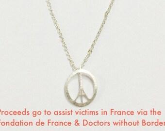 Peace for Paris necklace: Eiffel Tower Peace sign symbol in silver,  Pray for Paris #ViveLaFrance #DoctorswithoutBorders