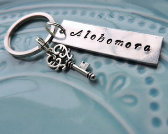 Alohomora Harry Potter Lock Opening Spell Keychain, Antique Skeleton Key, Potterhead, Hermione, Hand Stamped Aluminum