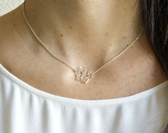 "Ras collar to the neck in Silver (925 Silver) with flower ""Lotus"" Pemberley jewelry / neck Ras / jewel / Fine Jewelry / Silver jewelry"