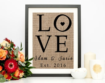 Engagement Gifts for Couple, Love Sign, Burlap Print, Custom, Personalized