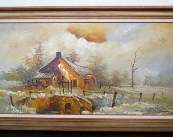 HUGE Vintage Oil Painting - signed Jorden, Oil on Canvas, European Art, Farmhouse Landscape, Large Painting, Framed Art, Landscape Painting