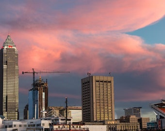 Cleveland Pinks, Sunset over the City, Lake Erie Photo, Cityscape Photography, Urban Photography, Cleveland Photography, 8x10 Art Gift Print