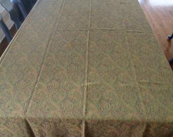 """Crate & Barrel Green Paisley Tablecloth 66"""" x 116"""""""