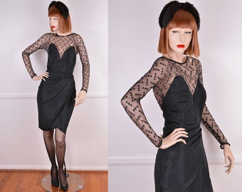 80s/90s Party Dress With Lace Sleeves And Sweetheart Neckline