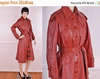 Summer Sale: 70s Brick Red Leather Trench Coat/ Vintage/ Wilsons/ Leather