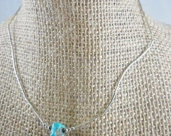 Natural Turquoise Nugget Liquid Silver Necklace
