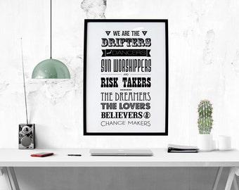 TNS Manifesto // Boho, Gypsy, Friendship, Life Quote, Inspirational Art, Motivational Print, Inspirational Print, Black and White, Wall Art