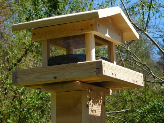 Post mount bird feeder cedar four sided bird feeder large for How to build a wooden bird feeder
