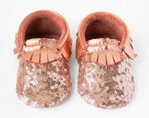 Rose Gold Sequin Moccasins, Copper Sequin Baby Moccs, Metallic Baby Moccasins / Toddler Moccasins, Baby Booties, Sparkly Baby Shoes