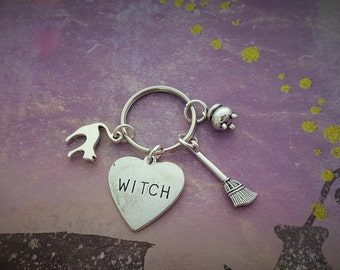 Witchcraft Keyring, Witchy Keychain, Witch Charms, Halloween Keyring, Gothic Gifts, Broomstick Charm, Cauldron Charm, Witch Accessories