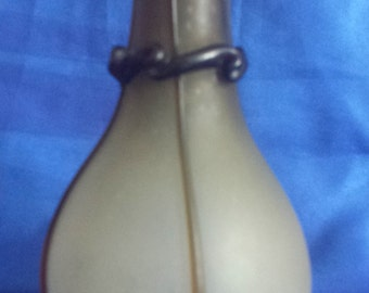 Smokey Brown Glass Vase Decorated with Applied Glass, Handblown