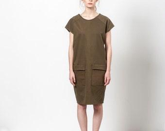 Army Green Dress, Dress With Pockets, Dark Green Dress, Dress With Pockets