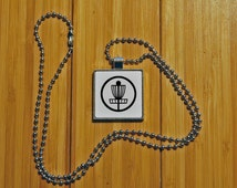 Disc golf necklace, disc pendant, silver pendant, unique gifts, square pendant, novelty jewelry, statement necklace, frisbee golf, basket