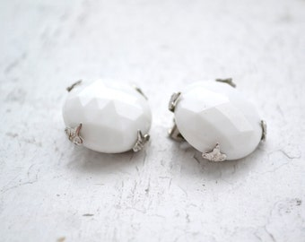 1950s Vogue Faceted Milk Glass Clip Earrings