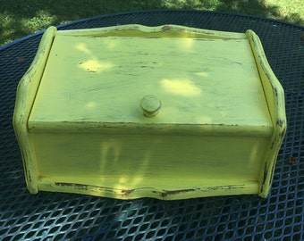 Vintage Hand Painted Wooden Breadbox, Yellow, Shabby Chic Bread Box, Farmhouse Cottage, Cottage Chic, Beach House, French Country Breadbox