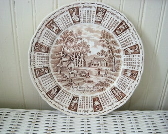 Vintage Alfred Meakin God Bless Our House Throughout 1973 Calendar Plate, Staffordshire England, Collector Plate, Zodiac, Brown Transferware