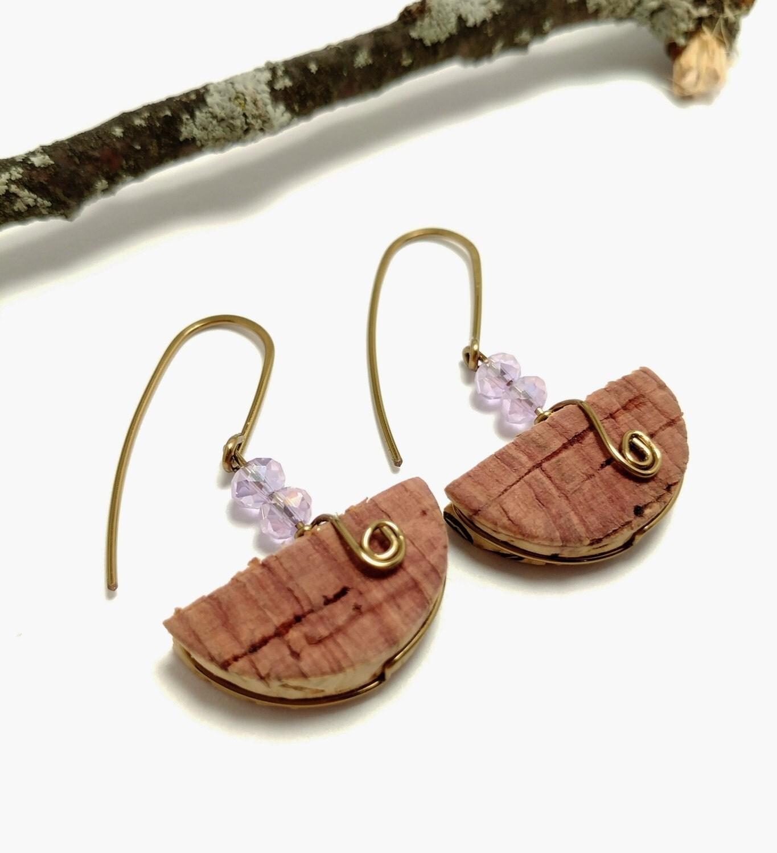 Cork Beads: Pink Crystal Cork Earrings Crystal Beaded Cork Jewelry