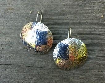 Sterling Silver Disc Earrings Patterned Handmade