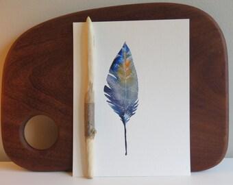 Original Watercolor feather, 8x10, Wall art, Custom watercolor, Birthday present