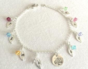 Personalized Family Tree Bracelet, Mother's Bracelet,Grandma's Bracelet,Initial Disc Bracelet,Sterling Silver,Swarovski Birthstone,Valentine