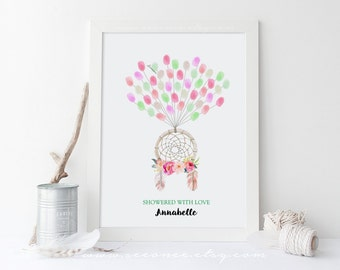 Dream catcher fingerprint guestbook - Tribal Boho thumbprint guestbook, wedding, bridal shower, baby shower, birthday gift digital file DIY