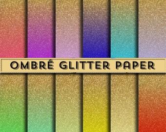 Gold Ombre Glitter Paper - Digital Glitter Paper, Ombre Glitter, Glitter Clip Art, Glitter Clipart, Glitter Paper, Paper Glitter, Ombre