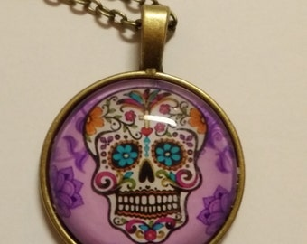 Sugar Skull Cabochon Necklace Day of the Dead Jewelry