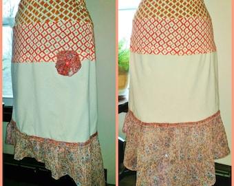 Bohemian Skirt, Gypsy, Hippie, Shabby Chic Skirt, Hi Lo Skirt, UPcycled Clothing, Ready to Ship