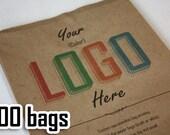 100 Custom printed bags - Full color, Kraft bag