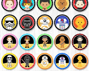 Star Wars Cupcake Toppers, The Force Awakens Cupcake Wrappers, Star Wars Party