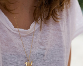 Necklace / gold plated origami Swan necklace