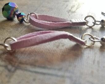 Rainbow Beaded Suede Silver Handmade Hook Earrings