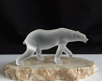 Handblown Frosted Glass Polar Bear Sculpture