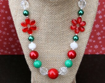 Green, Clear, Red Flower Chunky Necklace - Christmas Necklace - Holiday Necklace - Bubblegum Necklace
