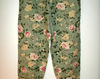 Floral High Waisted Pants, Green, Linen Blend, Talbots, Vintage 1990s, Size 8