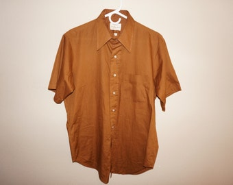 Vintage 1950s Arrow Kent Collection Union Made Mens Short Sleeve Shirt Size 16 Brown Burnt Sienna