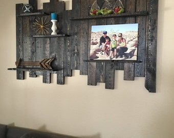 Reclaimed Wood Wall Shelf, Reclaimed Wood Wall Decor, Wood Shelf, Pallet  Wall,