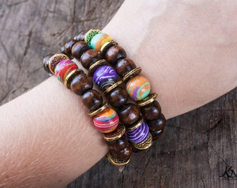 Stackable Wooden Beaded Stretch Bracelets with Colourful Malachite Beads - Hippie/Boho/Gypsy Style with Silver or Gold Accents