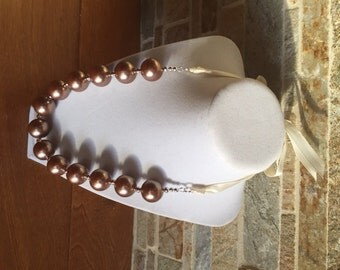 Women's Chunky Ribbon-Tie Necklace, Chunky Beads, Chunky Necklace, Ribbon Necklace, Honey Pearls, Chunky Pearls, Pearl Necklace