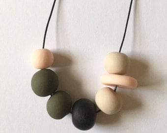 Handmade Olive Polymer Clay Bead Necklace