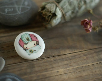 Little wizard girl tiny ceramic brooch - porcelain with watercolor oriental illustration print