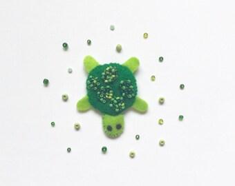 Felt Tortoise Brooch/ Felt Brooch/ Tortoise Pin