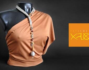 Linen eco-boho lariat strap, ethnic style