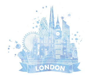 London city skyline in light blue water colour, A4 instant digital download