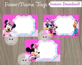 Minnie Mouse Favor Tags, Minnie Mouse Name Tags,  Minnie Mouse Birthday, Minnie Mouse Party, Favor Tags, Minnie Clubhouse