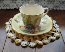 Vintage Royal Windsor Bone China Made in England - Hand Decorated Tea Cup and Saucer - Garden Scene with Trellis and Floral Sprays