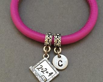 Chalkboard leather bracelet, chalkboard charm bracelet, leather bangle, personalized bracelet, initial bracelet, monogram