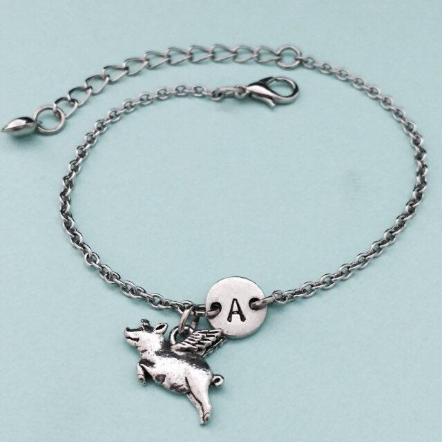flying pig charm bracelet flying pig charm adjustable